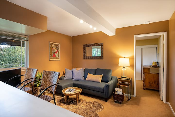 Main living space with a couch that pulls out larger than a twin size and our additional bedroll can make it cozy & comfortable.