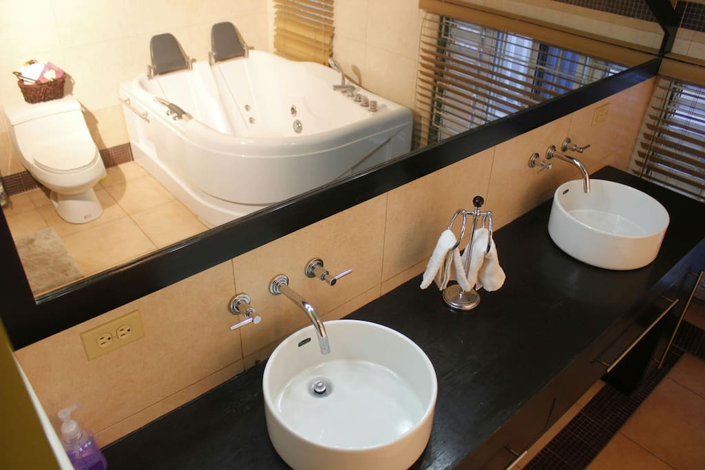 Bathroom Jacuzzi with His n Hers Counter Basins