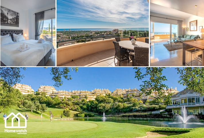 Luxury first line golf apartment with panoramic sea views in Elviria