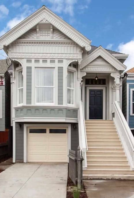 """Front of home, 1896 Victorian located in an entire neighborhood of other Victorian """"sisters"""" also in progress of getting fresh new looks."""