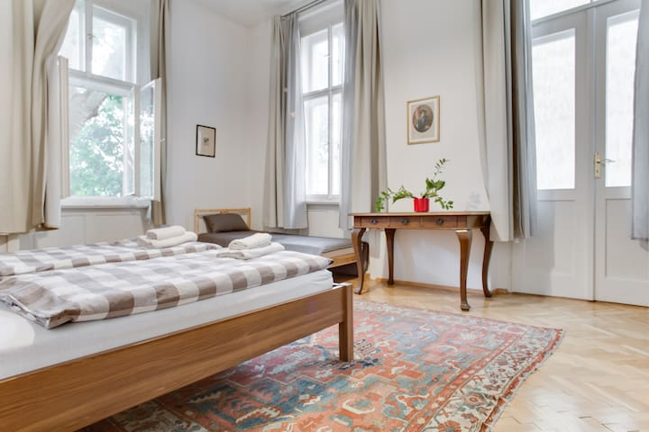 Enjoy holidays in large historical place at heart of Prague. Gather with your family and friends and plan your walks through magical Old Town on huge private terrace. Stay in baroque house with three bedrooms, two bathrooms and well equipped kitchen.