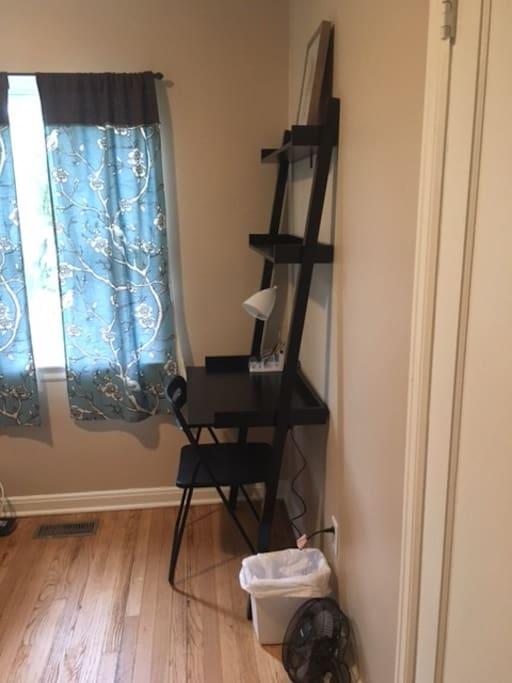 Workspace in guest bedroom