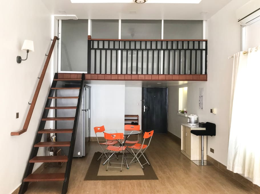 Mezzanine- with queen sized bed and fully air condition