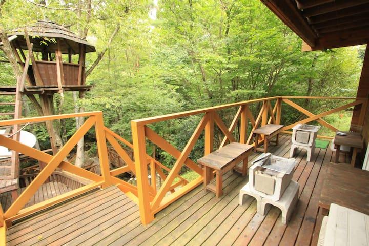 【天然温泉付きログハウス】 せせらぎに面した、BBQも利用できる  C104 - Nantan-shi - Villa
