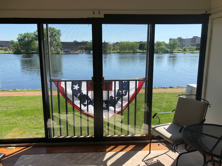 Screened porch looking out at the river