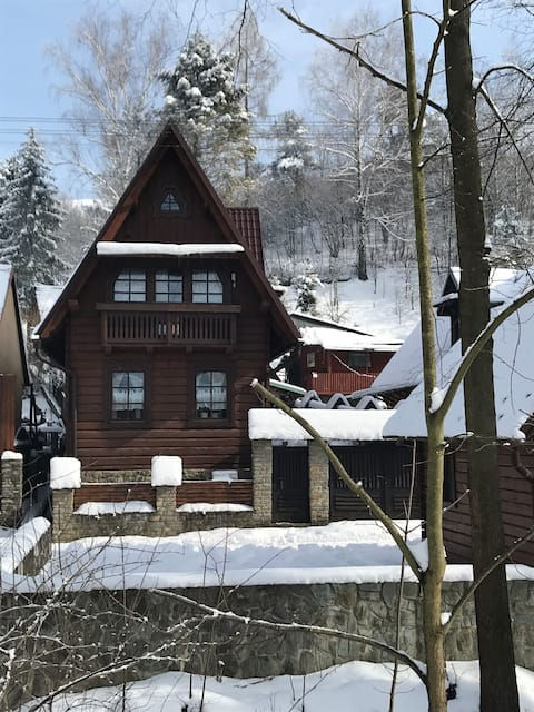 Casa de madeira no Parque Nacional Pieniny