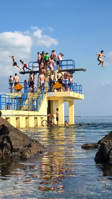 Fun on Salthill diving tower