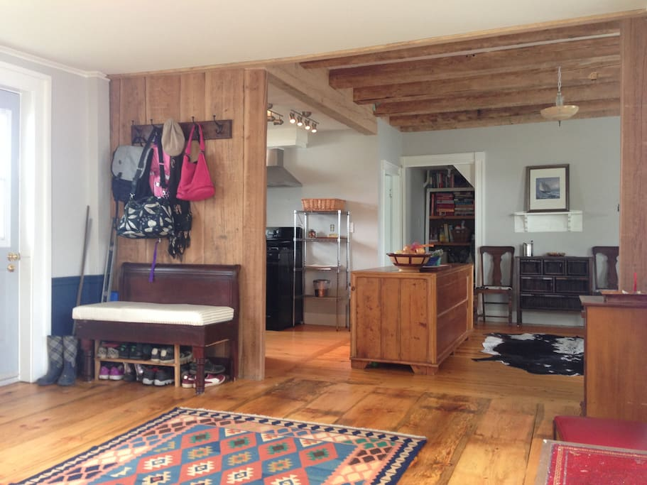 Large kitchen island and exposed beams