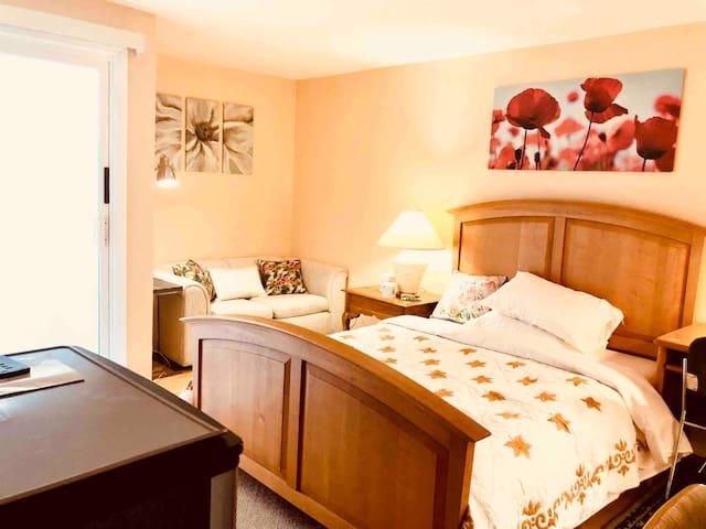 Quiet bedroom, comfortable queen size bed.