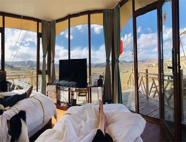 红原牧星空独栋帐篷双床房(全景玻璃落地窗观景)无早