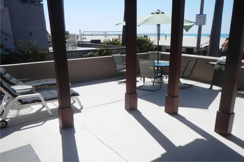 looking at patio from front door towards beach