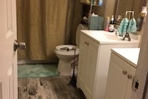 Guess bathroom with two sink