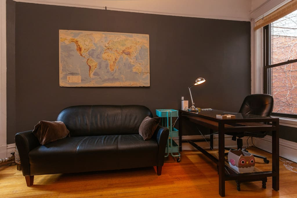 Nice couch, big closet, large desk, fast internet = happy stay. Put a red pin in our map to where you've come from..