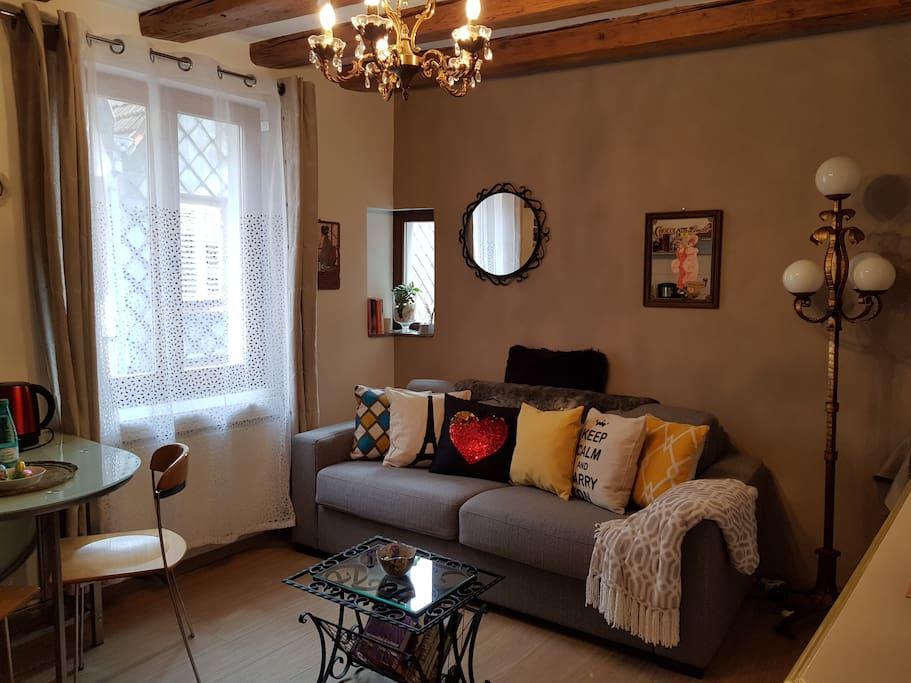 Salon, espace lecture, télé