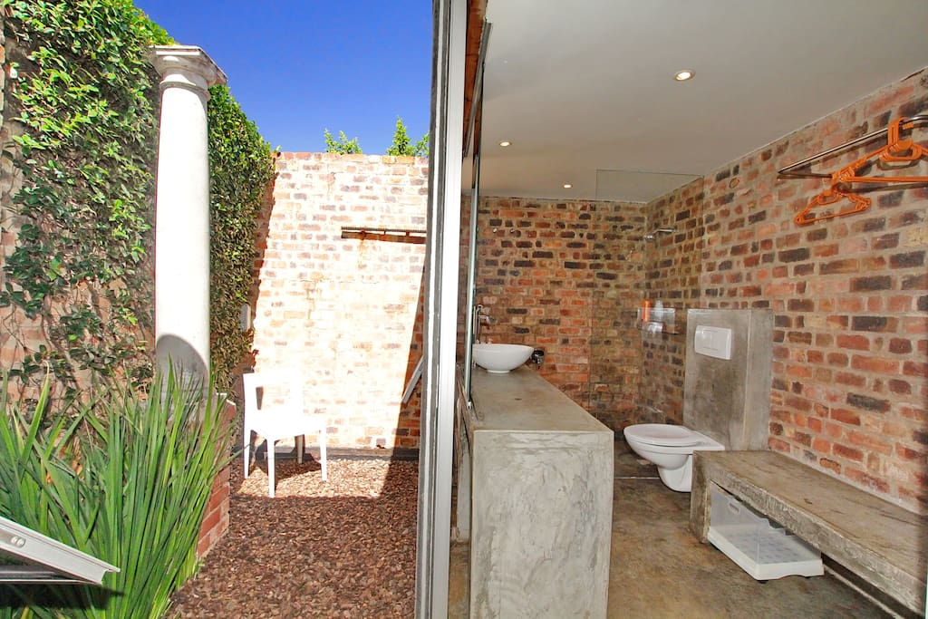 Bathroom with courtyard view