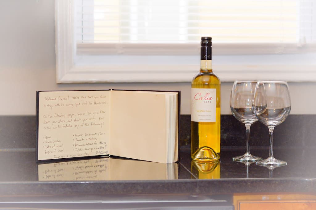 Complimentary wine awaits you upon your arrival!
