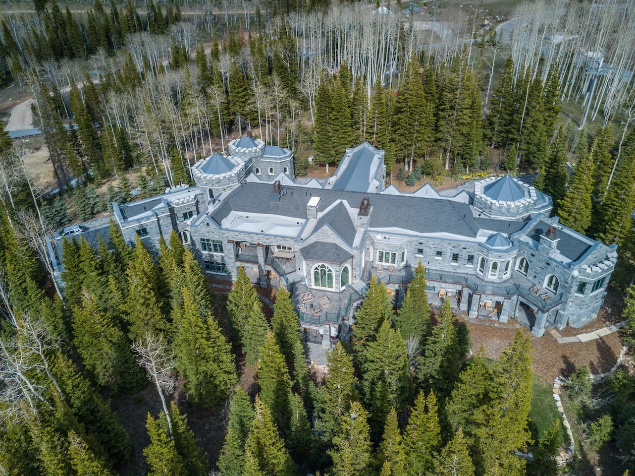 Aerial View of the Park City Castle Mansion