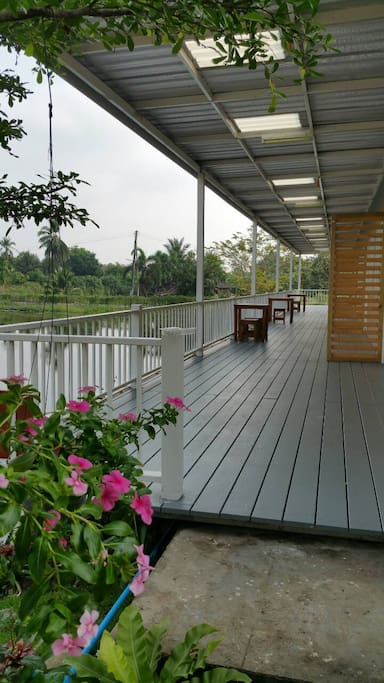 Big terrace near pool.
