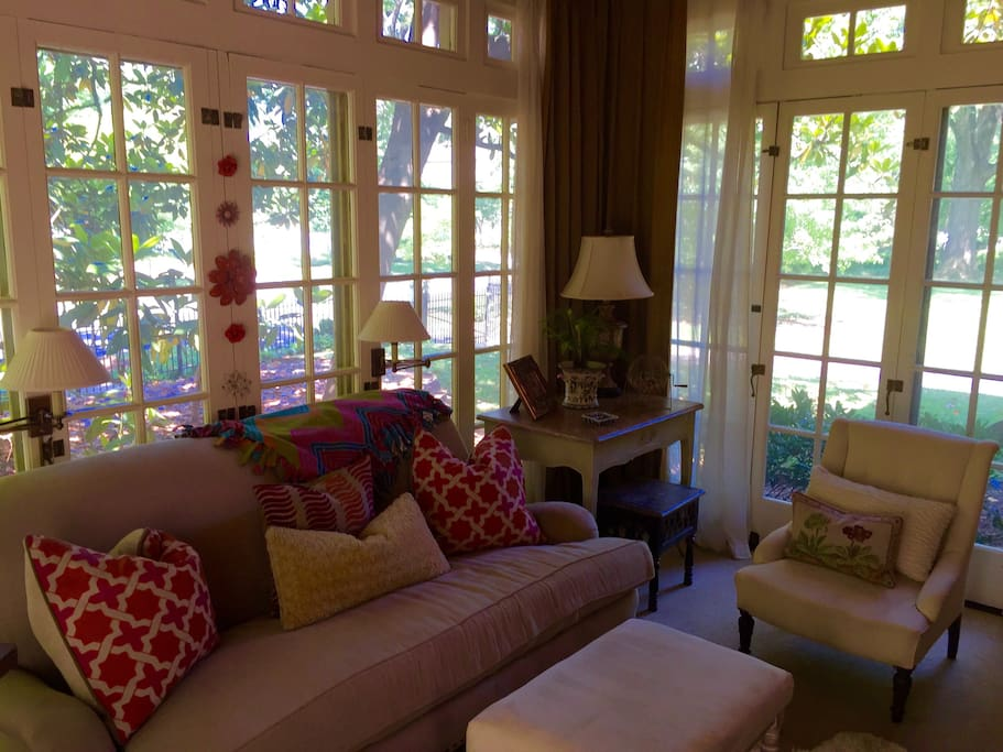 Lovely sunroom with fireplace