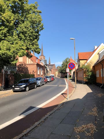 Town atmosphere in central Roskilde