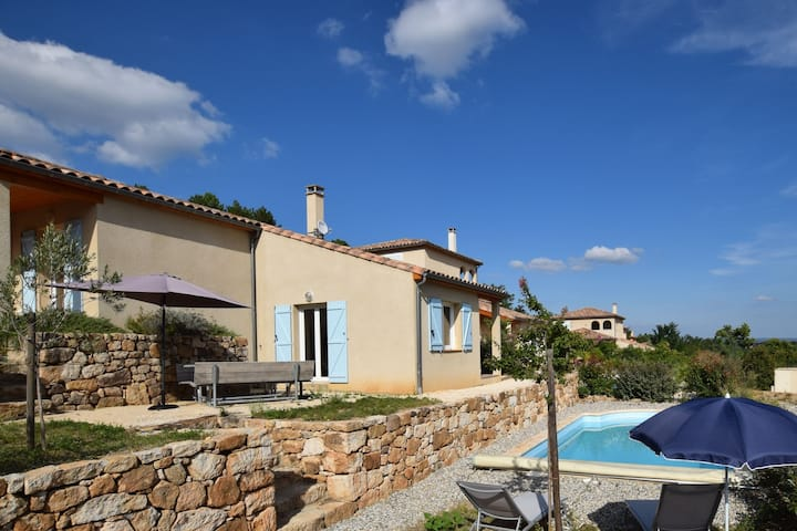 Lovely holiday villa with private swimming pool and magnificent view in Ardeche