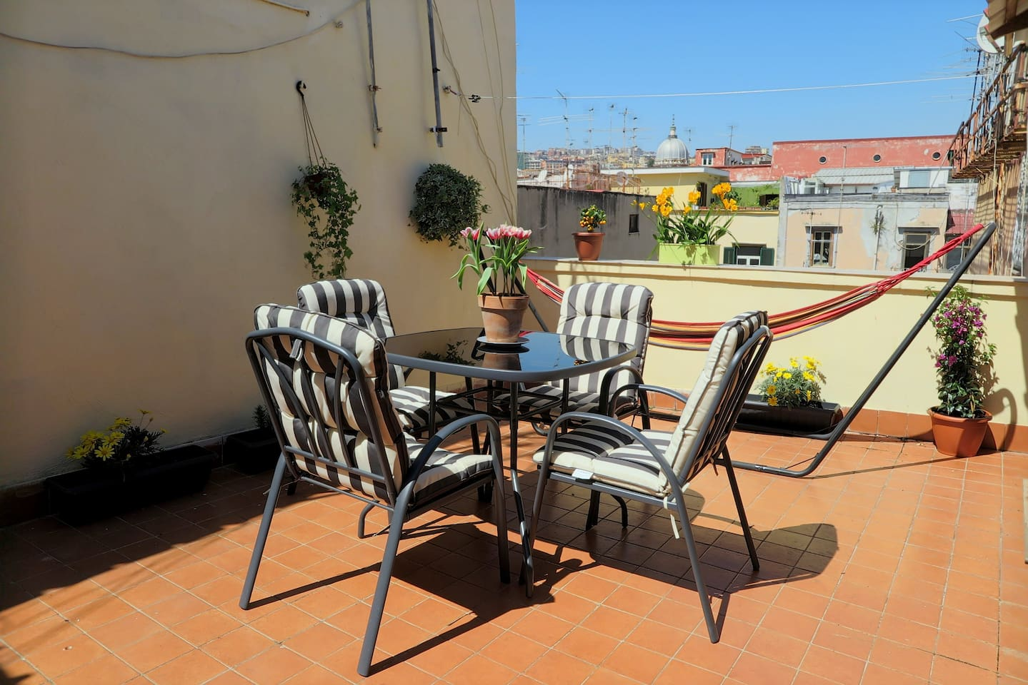 The sunny terrace where you can have breakfast and enjoy the siesta after an intense sightseeing day...