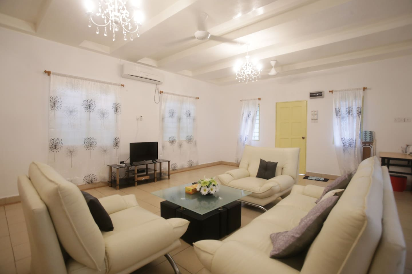 Modern amenities with comfortable sofa, air-conditioned, LED TV