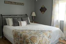Bedroom 1 features a queen sized memory foam mattress.