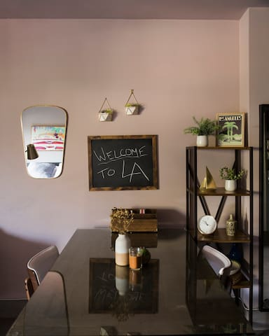 Dining / Office  Restoration Hardware reclaimed wood table. Chalkboard / office supplies (printer available)