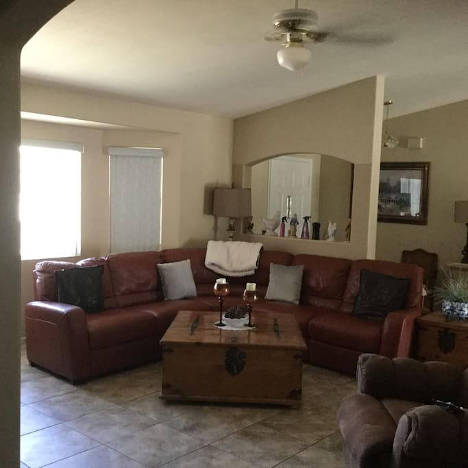 Living room with sectional and recliner