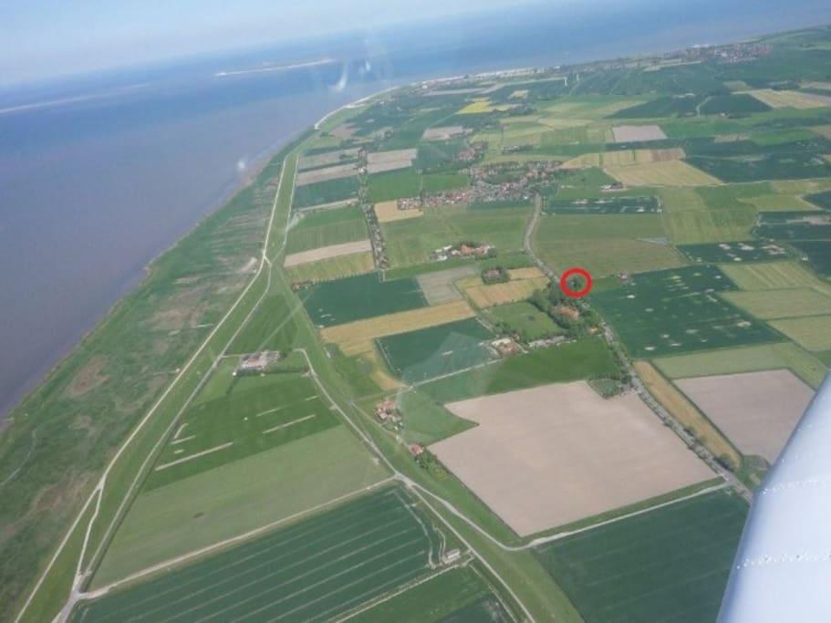 Luftaufnahme - Lage des Zugvogels