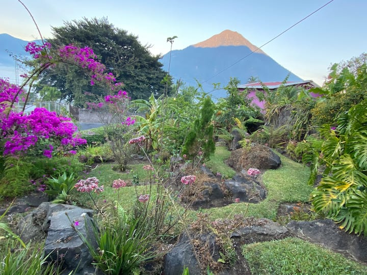 House by the lake and San Pedro Volcano