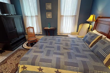 Stay in our charming Tulip Tree Room when visiting Hocking Hills and Wayne National Forest! Located on the 2nd floor. Room comes equipped with a Queen bed, flat screen TV & electric fireplace! Enjoy the outdoor new hot tub!