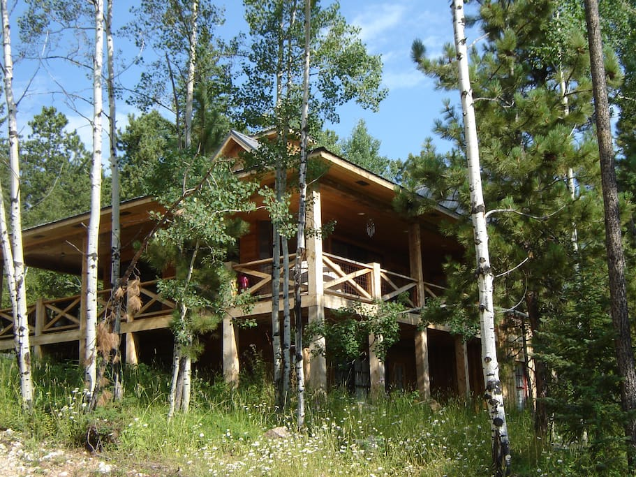 The cabin is surrounded by trees and native grasses throughout the spring and summer months