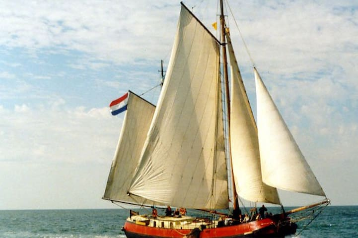 Sailing ship near Amsterdam Center