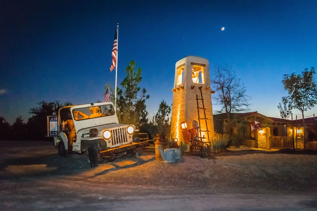 "The bell tower, flag and classic jeep, ""Old Dan Tucker"" greet guests at Tlaquepaque."