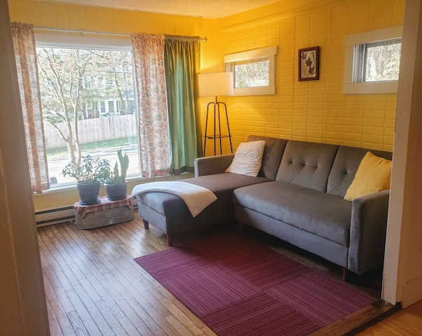 The front living area has plenty of natural light with a large picture window and sunny yellow walls.  Warm oak flooring, sustainable FLOR carpet tiles, and a new sofa make for a comfy corner to relax.