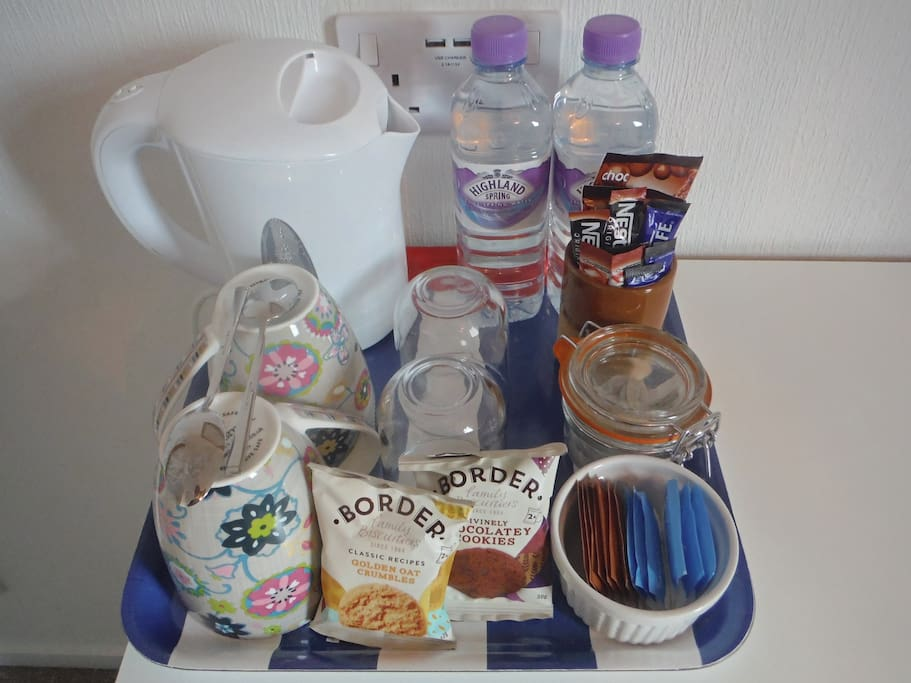 Refreshment tray in each bedroom