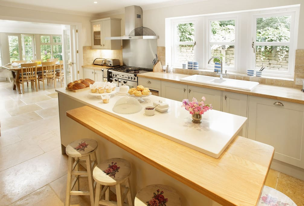 Ground floor: Large kitchen with a separate garden room for dining and sitting