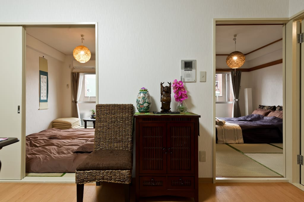 Spacious and bright 2DK(4~6 guests) 宽敞明亮的2房一厅(4~6位客人)