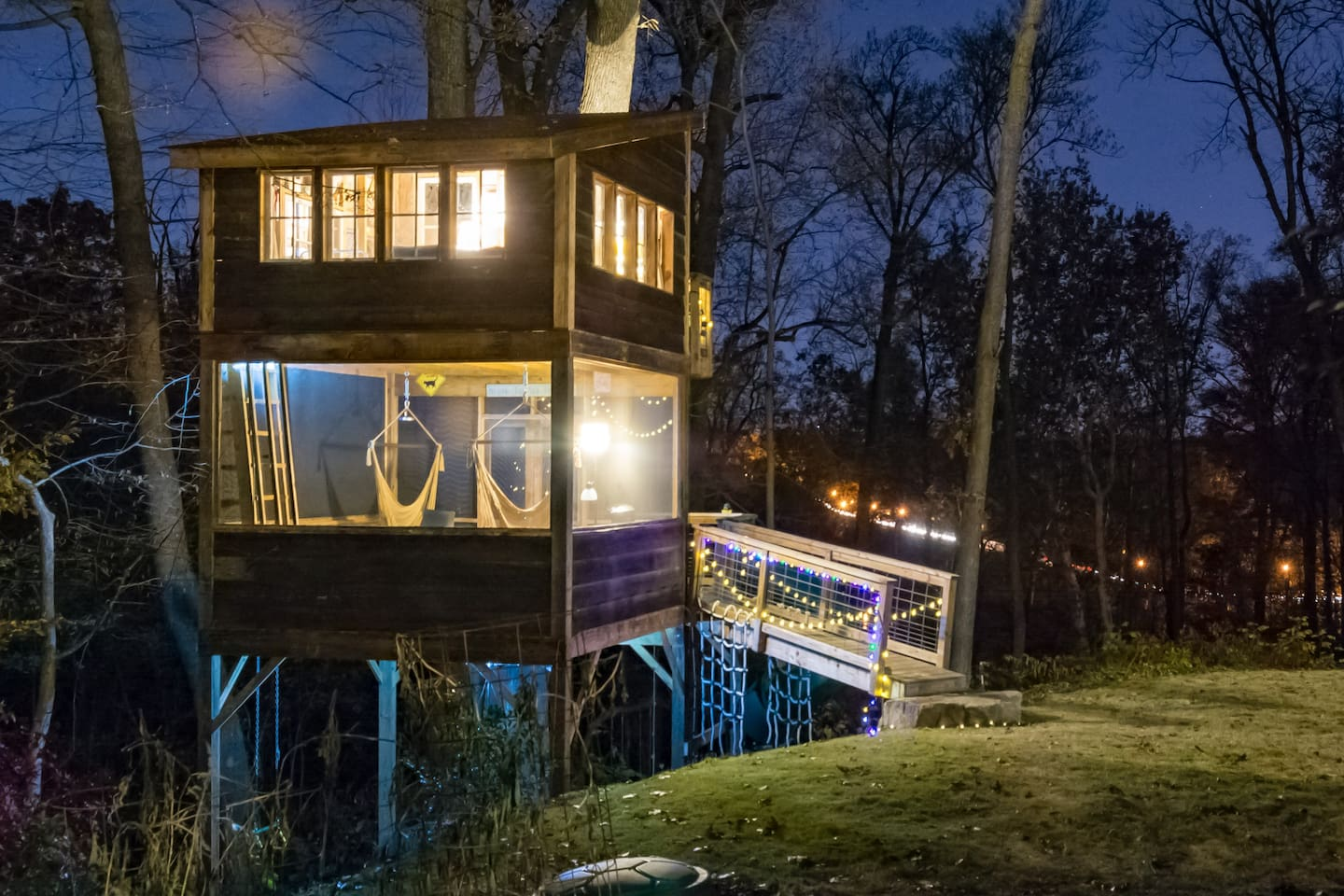 I absolutely LOVE this night shot that one of our guests took of the Trailside Treehouse. In the winter when the leaves fall from the trees, we can see a chain of car headlights as commuters come home from work. It's one of my favorite times of day because those lights through the trees are so beautiful to me--full of life and of getting home.