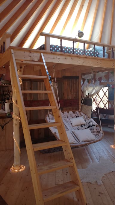 A loft with a queen bed for extra sleepers!