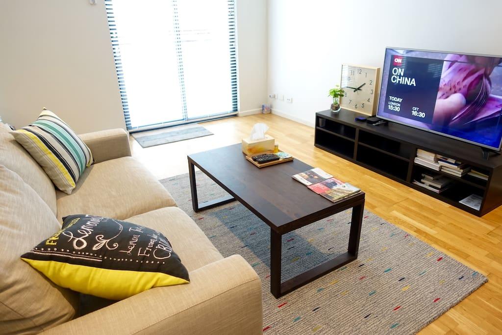Plenty of natural light, spacious living area. 採光良好, 格局寬敞舒適宜人舒適, 附50寸網路電視.