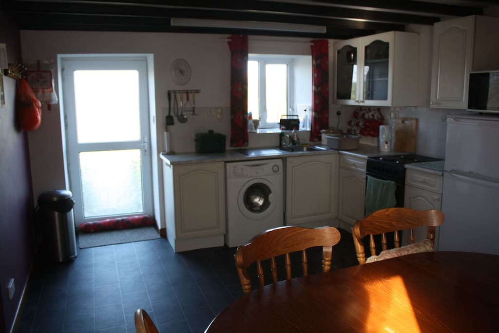 the kitchen and back door to garden