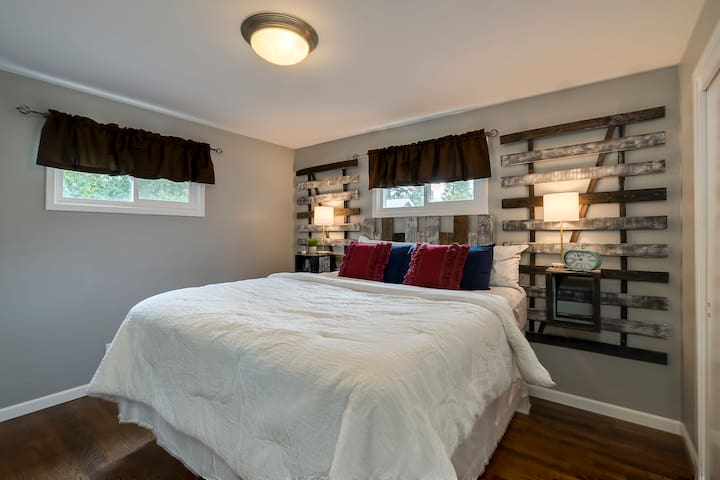 Master bedroom with Cali King to spread out in