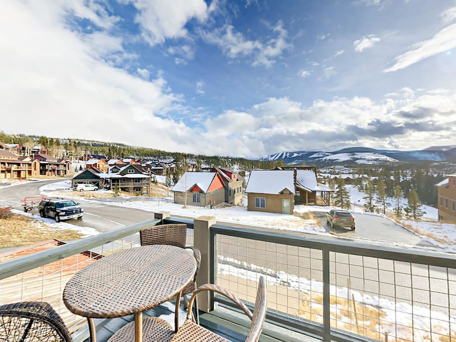 Gaze across downtown Winter Park and the ski area from your private deck with seating for 3.