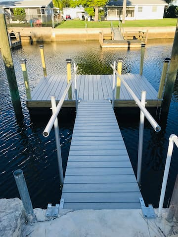 New dock to moor your boat or relax and dolphin watch or fish for mangrove snapper.