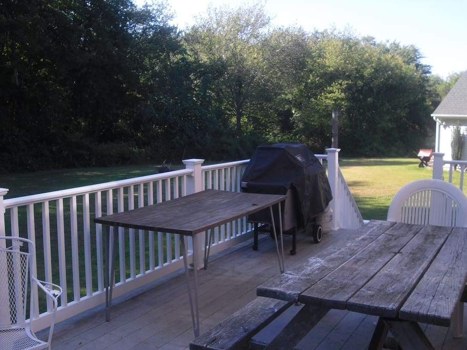 back porch with bbq and picnic table