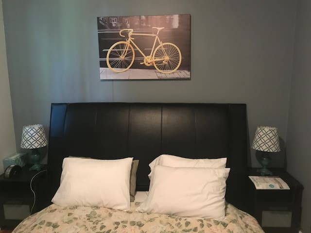 Platform bed with bike theme picture