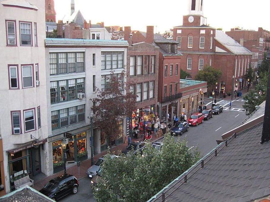 The apartment is on Charles Street with great shopping, restaurants, and coffee